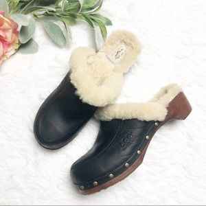 UGG Black Leather Wooden Clogs